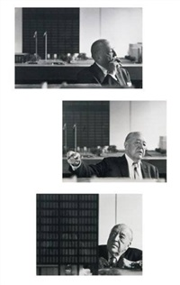 portrait of mies van der rohe with the toronto dominion center model (+ 2 others, larger; 3 works) by hans namuth