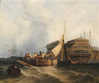 harbour scene by john sell cotman