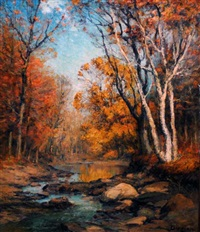 autumn landscape with stream by franklin b. de haven