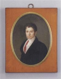 portrait d'homme à la redingote brune, gilet crème et rouge. il est coiffé de mèches. by pierre leonard cousin