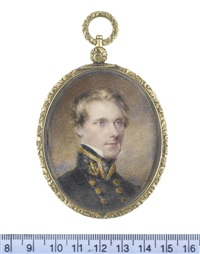 mr hammel strutt (b.1804), wearing blue double-breasted coat with gold buttons, his standing collar bearing gold trim and a gold embroidered anchor... by richard woodman