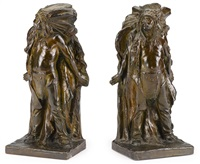 indian chiefs: a pair of bookends by charles henry humphriss