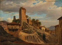 scenery with a ruin in olevano, italy by peter (johann p.) raadsig