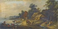 river landscape with villagers on the bank by theobald michau