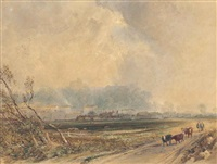 cattle on a track near arundel, sussex by copley fielding