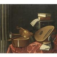natura morta con strumenti musicali, libri, spartiti e una scatola intarsiata su un tavolo by evaristo baschenis