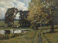 cattle grazing by a woodland pool by samuel reid