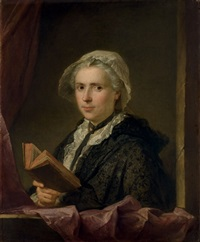 portrait de dame tenant un livre by jacques andré joseph aved