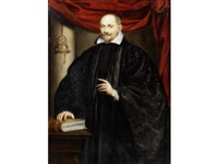 portrait of a gentleman, three-quarter length, in black costume, standing by leandro da ponte bassano