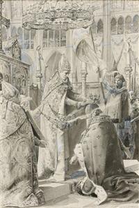 le sacre de charles vii à reims et jeanne devant le tribunal (2 works) by luc olivier merson