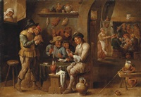 peasants in an interior smoking, drinking and playing cards by david teniers the younger