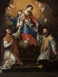 the madonna and child in glory with saints ignatius of loyola and xavier by francesco de rosa
