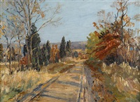 path through autumnal landscape by walter emerson baum