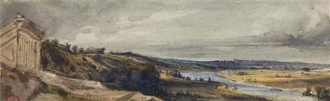 la seine avec laqueduc de marly by paul huet