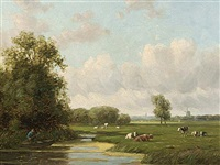 cows in a dutch polder landscape by willem vester