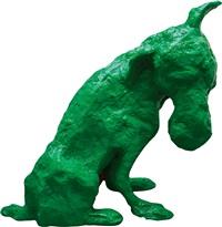 綠狗化成太湖石 (green dog into taihu lake stone) by zhou chunya