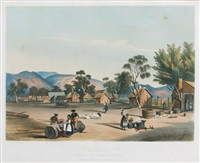 bethany. a village of german settlers at the foot of the barossa hills. plate 60 from south australia illustrated by george french angas