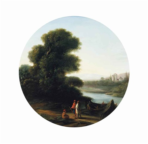 a wooded river landscape with figures on a path and others loading a boat with logs a castle beyond by claude lorrain