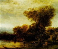 wooded river landscape with a mother and child on a path by jacob koninck the elder