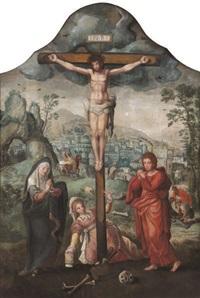 calvaire avec marie madeleine au pied de la croix et une vue de jérusalem à l'arrière-plan by flemish school-antwerp (16)