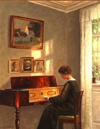 interior with a woman playing the piano by hans hilsoe