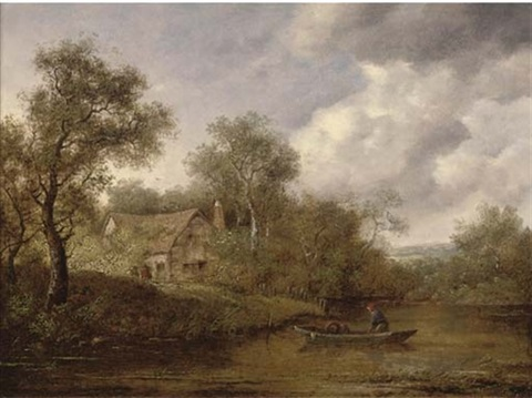 a fisherman in a rowing boat on a river a cottage beyond by richard h hilder