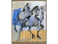 two horses with riders by geoffrey key