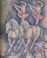 ringling brothers: equestrians and midget by george biddle