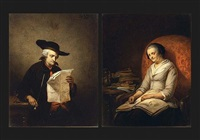 portrait of a man reading (+ portrait of a woman reading; pair) by eugène françois de block