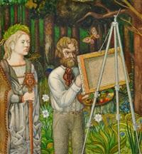 landschaft mit maler an der staffelei, neben ihm albrecht dürer by igor wladimirowitsch sokol