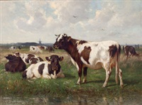cattle in a landscape by william henry howe