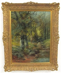 sketching by a woodland brook by clarence henry roe