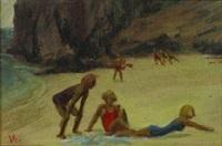 beach scene by victor michail arnautoff