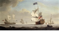 the flagship royal george coming to anchor in a stiff breeze, probably upon arrival at spithead by samuel scott
