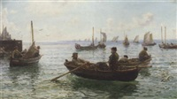lobster fishermen leaving harbour by hamilton macallum