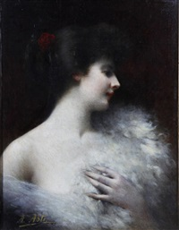 portrait of a lady in white by angelo asti