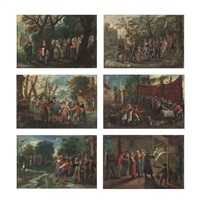 the procession of the bride; the procession of the groom; the wedding dance; the wedding feast; the wedding games; and the blessing of the... (6 works) by pieter brueghel the younger