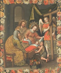 the holy family with saint anne and saint john the baptist by peruvian school-cuzco (19)
