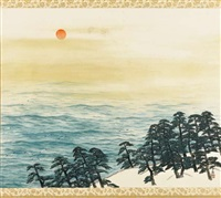 the rising sun by taikan yokoyama