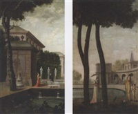 elegant figures in landscaped gardens by anglo-french school (19)