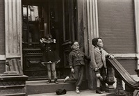 three children with masks, new york by helen levitt