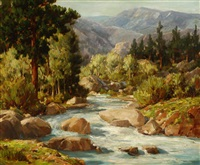 stream in a foothill landscape by william thomas mcdermitt