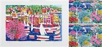 momenti di poesia intorno a portofino e il canto dei grandi ulivi sul lago (3 works) by athos faccincani