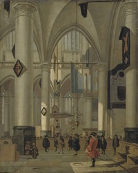 the interior of a protestant church with elegant figures by hendrick van streeck