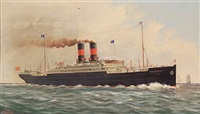 the s.s. frederick viii of the scandinavian american line in calm seas by ferdinand worms