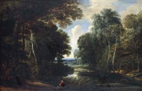 a wooded river landscape with a hunter on a path by jacques d' arthois