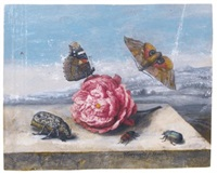 still life with insects around a rose on a stone ledge by margarethe de heer