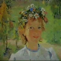 petite fille en couronne de fleurs by vladimir filatov