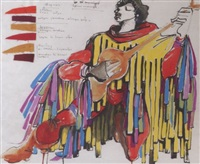 le trobadour (drawing of a costume for the play notre dame) by vassilis fotopoulos