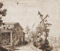 ländliche szene mit bauernhaus an einem weg by remigio cantagallina